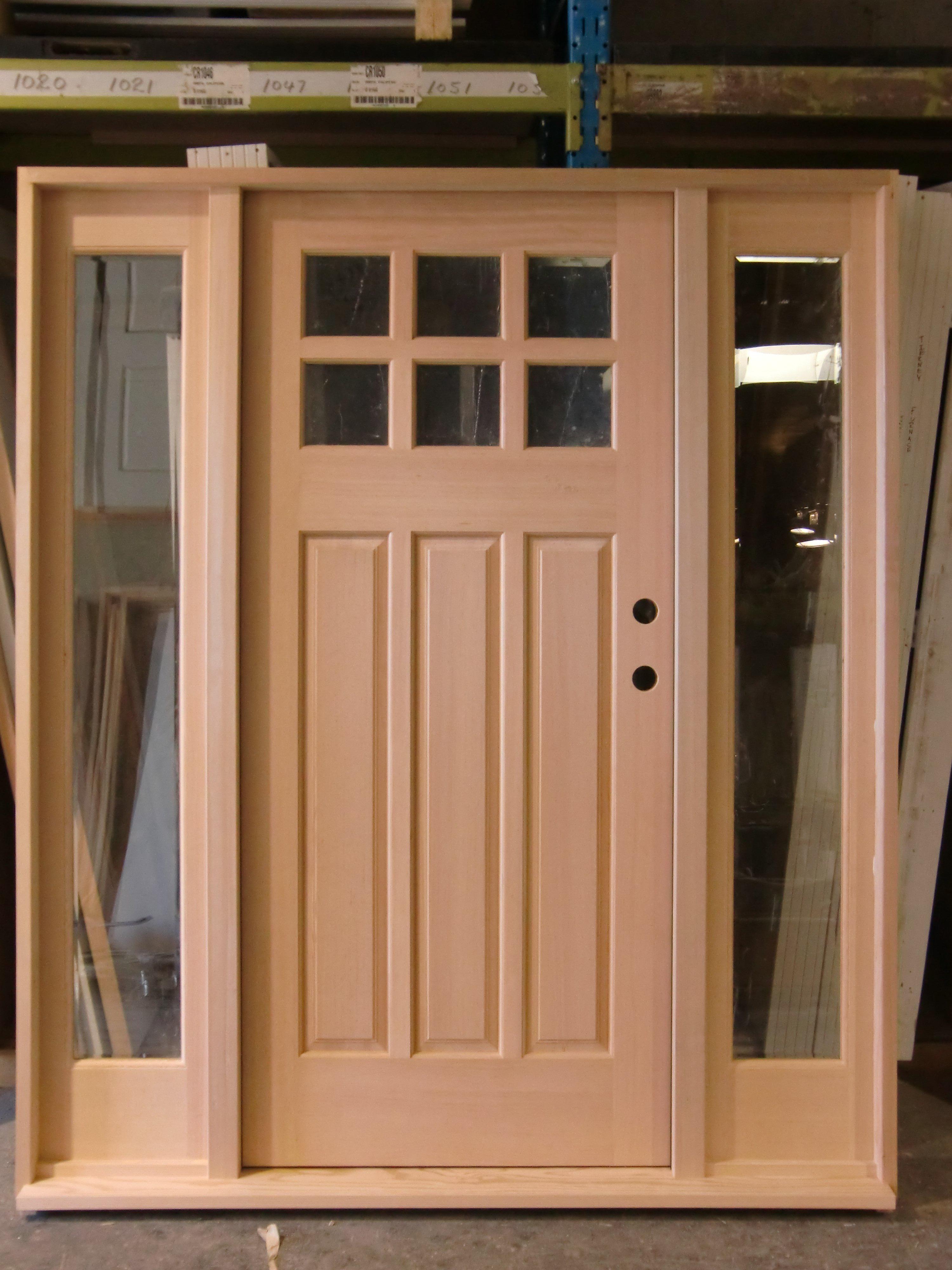 Exterior 6 Lite 3 Panel Third Layout Stain Grade & Factory Direct Doors Edmonton | Product Details - Exterior 6 Lite 3 ...